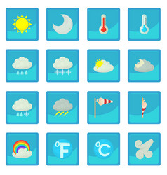 Weather symbols icon blue app vector