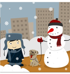Winter in the city vector image vector image