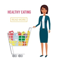 Woman in supermarket with cart full of food vector