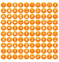 100 eco care icons set orange vector