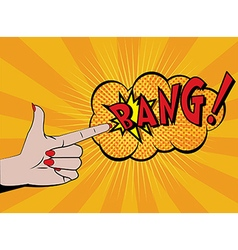 Woman hand shooting comics style vector