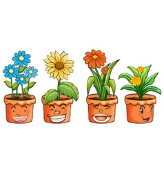 Four pots of flowers vector