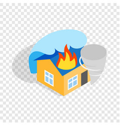 House is on fire isometric icon vector