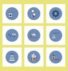 Collection of icons in flat style fuel and energy vector