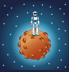 robot moon space galaxy vector image