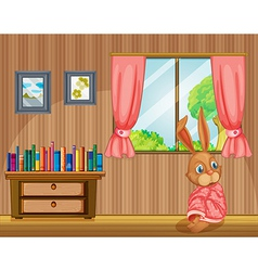 A bunny feeling cold inside the house vector