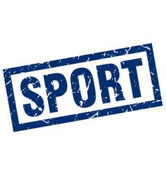 Square grunge blue sport stamp vector