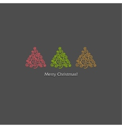 Festive card design with a row of christmas trees vector