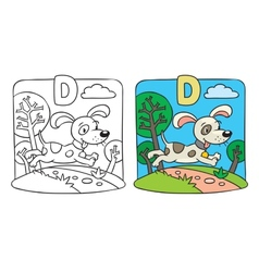 Coloring book of little funny dog alphabet d vector
