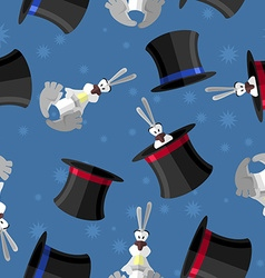 Rabbit in hat seamless pattern background for vector image