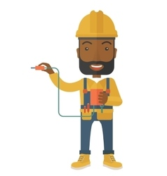 Afircan electrician holding power cable plug vector