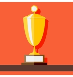 Winner cup standing at shelf flat style vector