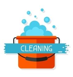 Housekeeping background with bucket and suds vector