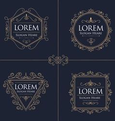 Luxury logos set template flourishes calligraphic vector