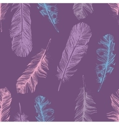 Pattern with hand drawn feathers vector