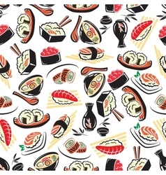 Seamless pattern of traditional japanese cuisine vector image