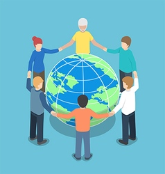 Isometric people around the world holding hands vector