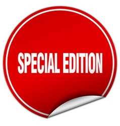 Special edition round red sticker isolated on vector