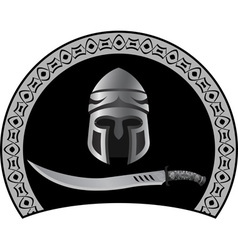 medieval helmet with sword vector image