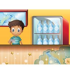 A boy in the soda shop vector