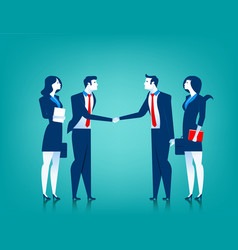 agreement cooperation business team shaking vector image vector image