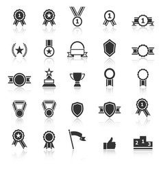 Award icons with reflect on white background vector image