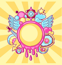 Background with cartoon fantasy objects fashion vector