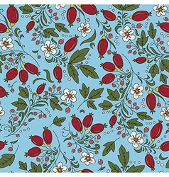 Berry barberry flower leaves vector