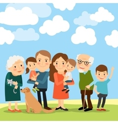 Big family and sky with clouds vector