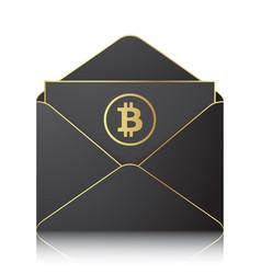 black envelope with bitocin sign vector image