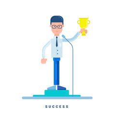Businessman stands with the award business vector