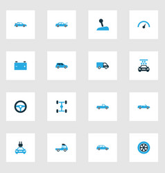 Car colorful icons set collection of pickup tie vector