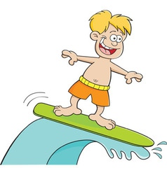 Cartoon boy surfing vector image