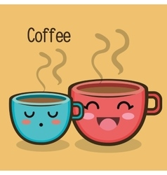 cartoon two cup coffee expression design vector image