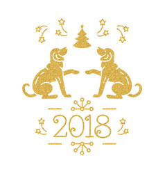 Christmas card happy new year 2018 golden vector