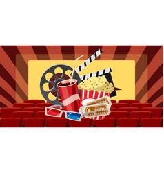 Cinema movie premiere icons set cartoon style vector