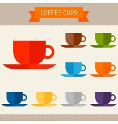 Coffee cups colored templates for your design in vector image vector image