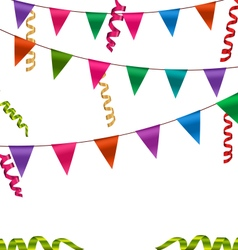 Colorful Buntings Flags Garlands and Serpentine vector image