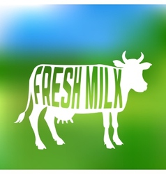Cow silhouette with text inside about fresh milk vector image vector image