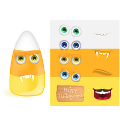 cute halloween candy corn monster with various vector image