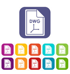 File dwg icons set vector