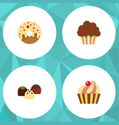 Flat cake set of muffin sweetmeat doughnut and vector