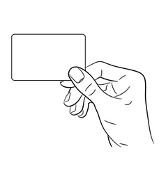 Hand holding a card on white background vector image vector image
