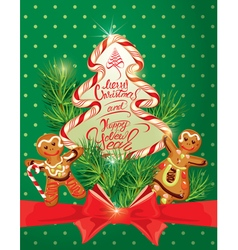 Holiday greeting card with xmas gingerbread vector
