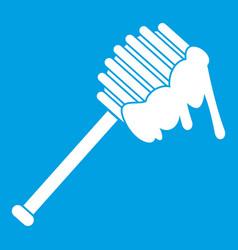 Honey spoon icon white vector
