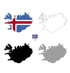 Iceland country black silhouette and with flag on vector