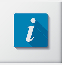 Information flat button for design info square vector