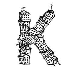 Letter k made from houses alphabet design vector