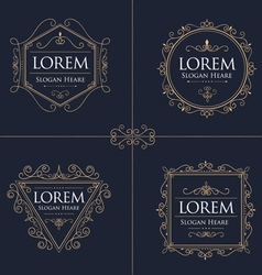 Luxury logos set template flourishes calligraphic vector