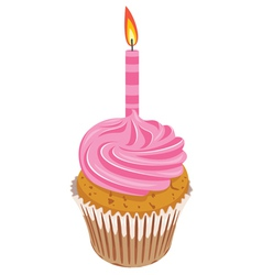pink cupcake with burning candle vector image vector image